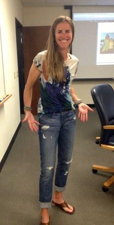 Brandi Chastain models her jeans