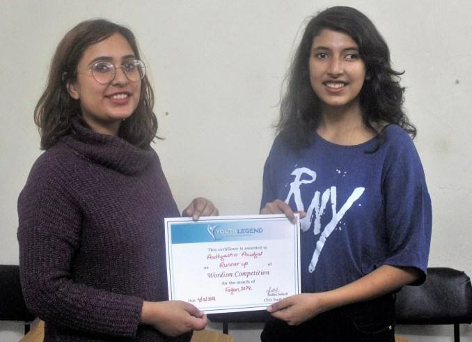 Aadhyashri Poudyal Receiving her certificate