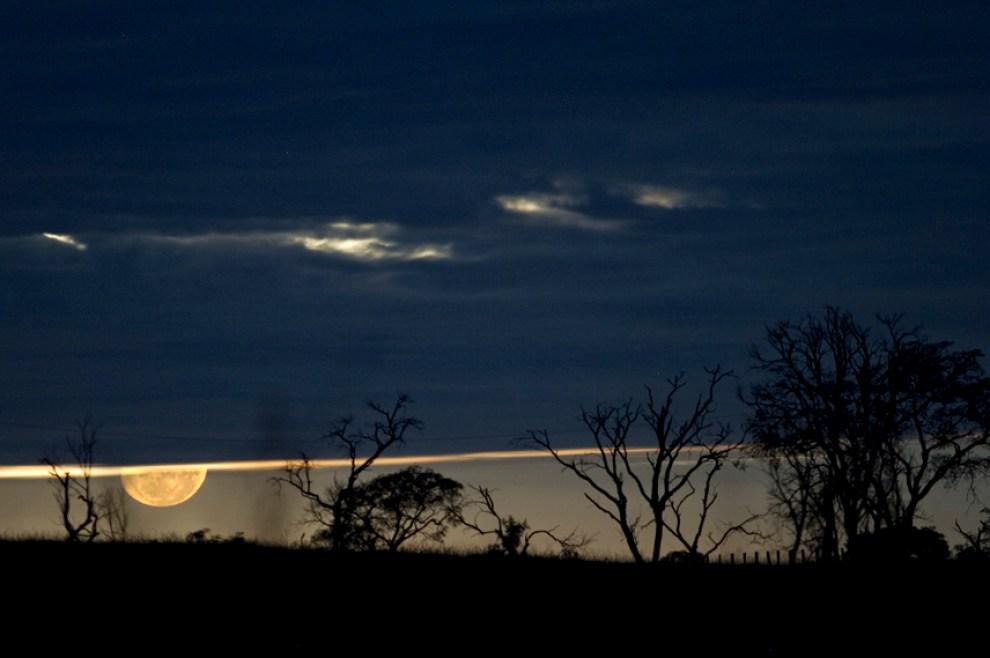 La luna recién salida, baña de luz arboles en el horizonte en una estancia de Rio Verde. (Rio Verde, San Pedro, Paraguay - Tetsu Espósito)