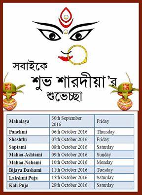 Durga Puja Dates in 2016