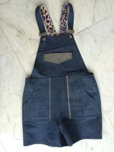 Turia Dungarees by Pauline Alice in cotton denim shorts version - front.