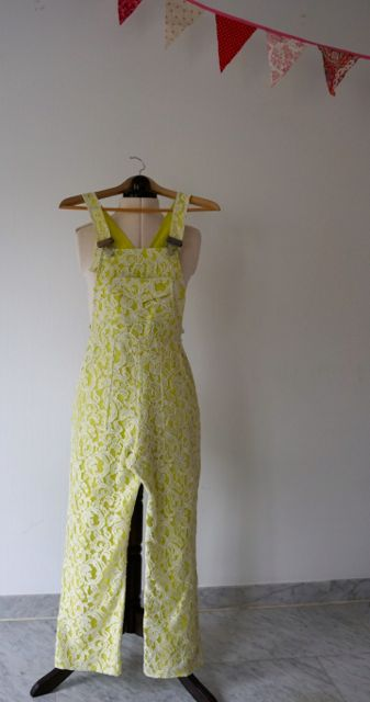 Turia Dungarees - pattern by Pauline Alice Patterns in Italian ramie lace and Italian linen.