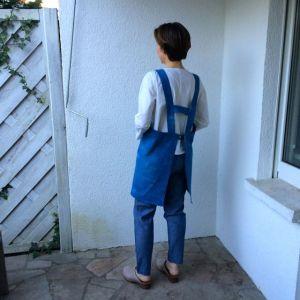 Back view of Japanese style apron using indigo hand-dyed organic cotton twill.