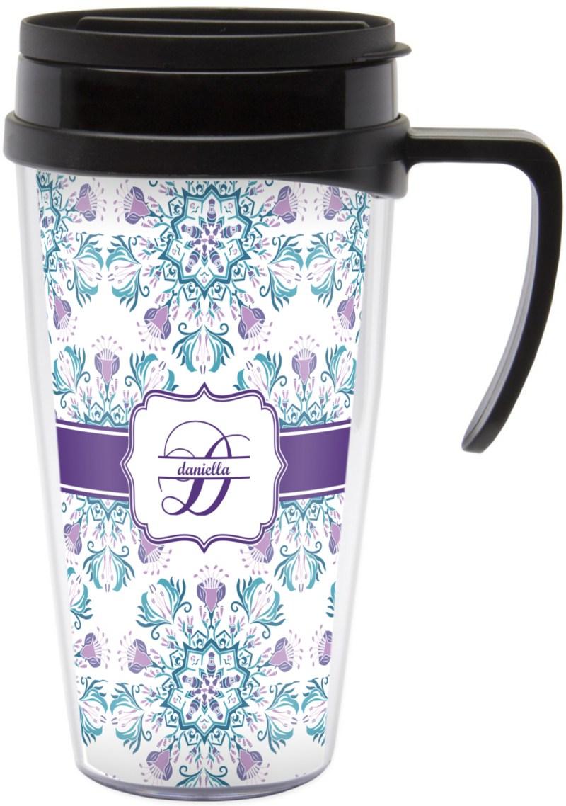 Scenic Handle Mandala Floral Travel Mug Large Handle Contigo Coffee Mug Handle Coffee Mug Handle Mandala Floral Travel Mug