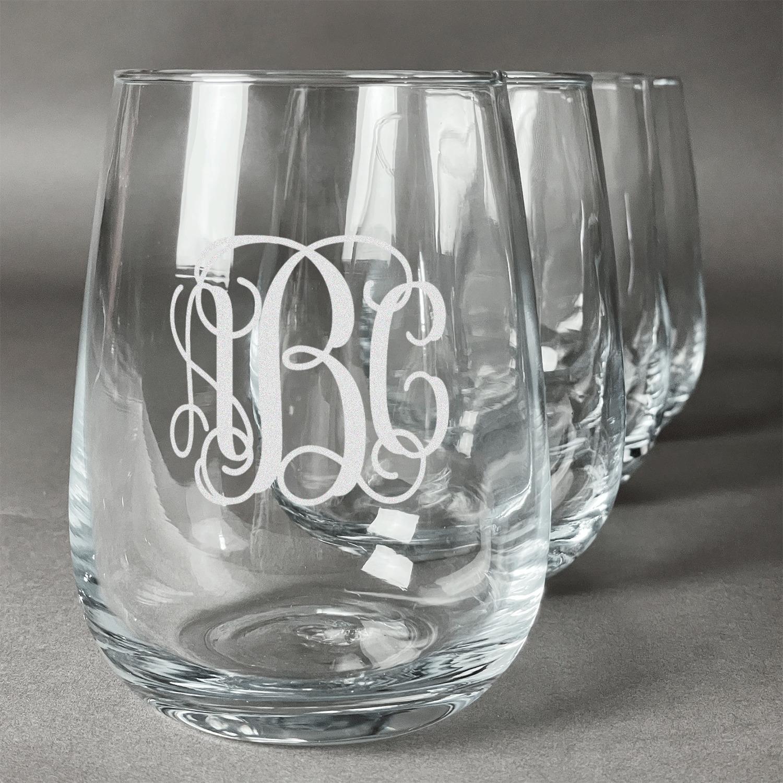 Fun Personalized Stemless Wine Glasses Canada Personalized Stemless Wine Glasses Wedding Favors Interlocking Monogram Wine Glasses Set Interlocking Monogram Wine Glasses Set inspiration Personalized Stemless Wine Glasses