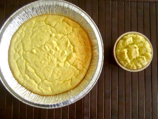 """""""this is a picture of the baked cake in aluminum pan, taken from top shot"""""""