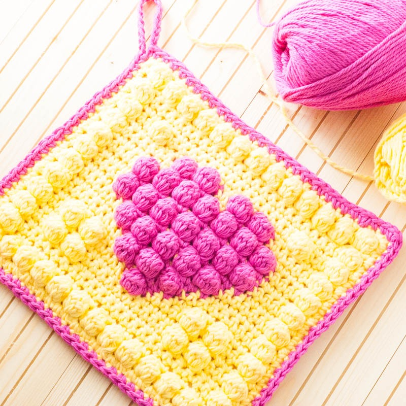 Crochet Bobble Heart Potholder
