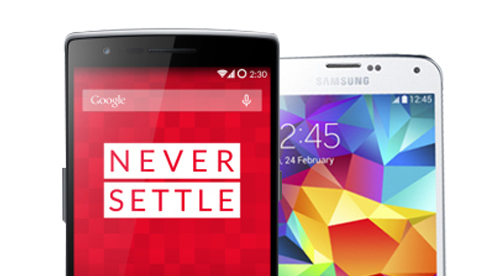 OnePlus One VS Samsung Galaxy S5 half