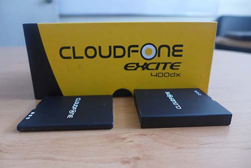 CloudFone Excite 400dx's 1400mAh and 3000mAh batteries