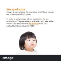Ensogo PH apologizes for the DNS issue, gives 5% discount voucher