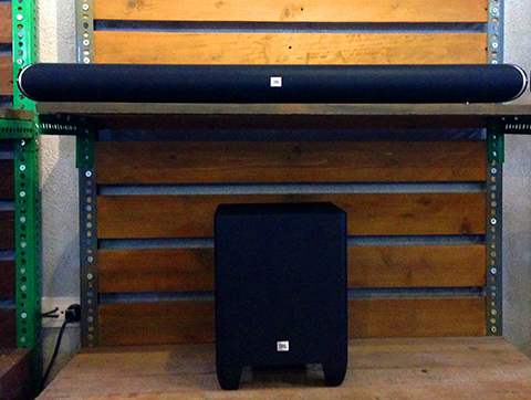 """The JBL SB350's wireless subwoofer is mainly a """"support"""" for the sound bar and is a bit underwhelming."""
