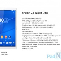 Sony Xperia Z4 Tablet Ultra specs leaked w/ 6GB RAM