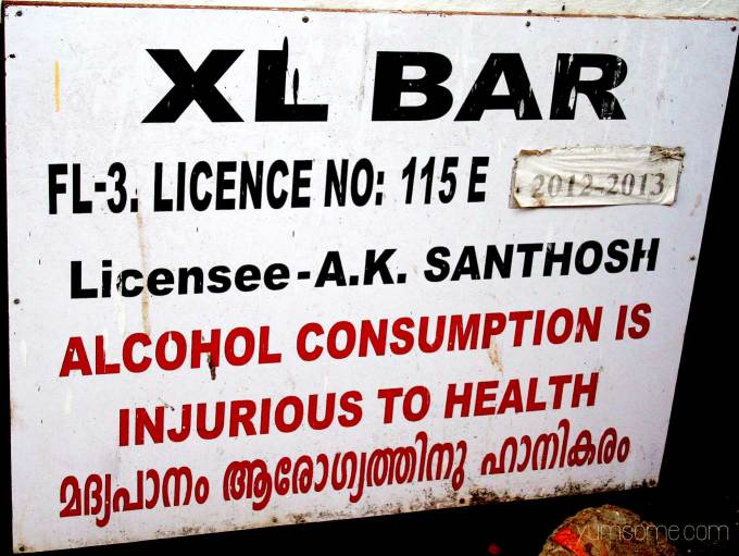 Bar sign in Fort Kochi, India