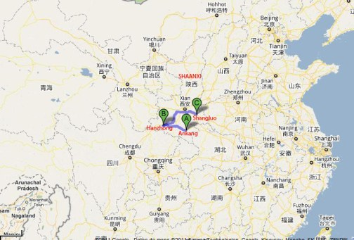 Mapa de las zonas del sur de la provincia afectadas. Ankang se encuentra a unos 300 kilómetros de la capital Xian.
