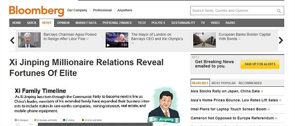 Captura de pantalla del artículo publicado en la página web de Bloomberg.