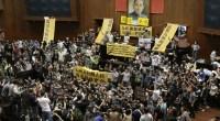 La mezcla de estudiantes, académicos y organizaciones sociales protestaba de esta forma por el acuerdo comercial firmado con China en junio de 2013, que no sólo consideran perjudicará a Taiwán, sino que además no ha sido debatido convenientemente en el parlamento y se quiere aprobar por la puerta de atrás