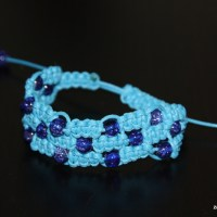 Potrójna bransoletka makrama - błękit w kolorze blue ...