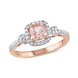 5 0mm Cushion Cut Morganite and 15 Ct T W Diamond Engagement Ring