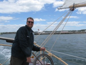 Steering on the Aquidneck is with a worm gear.