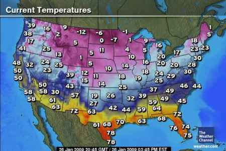 Map Of Temperatures - Us current weather map temperatures
