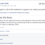 Facebook post from Lush Cork advertising their charity pot party event.