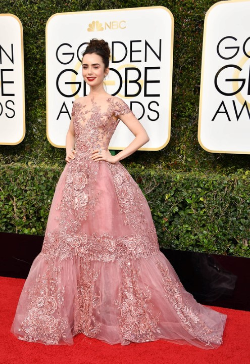 BEVERLY HILLS, CA - JANUARY 08:  Actress Lily Collins attends the 74th Annual Golden Globe Awards at The Beverly Hilton Hotel on January 8, 2017 in Beverly Hills, California.  (Photo by Steve Granitz/WireImage)