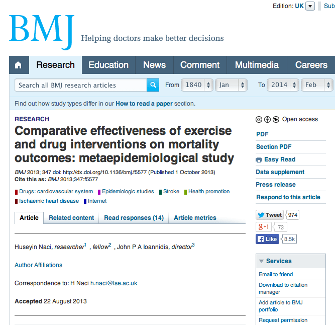 Is exercise as effective as medicine?