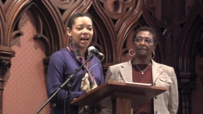 Karla Nicholson, Director of Haymarket People's Fund and Dorotea Manuela from the Rosa Parks Human Rights Day Coalition. Emcees for the People's Celebration. Photo credit: Charngchi Way/Susie Husted.