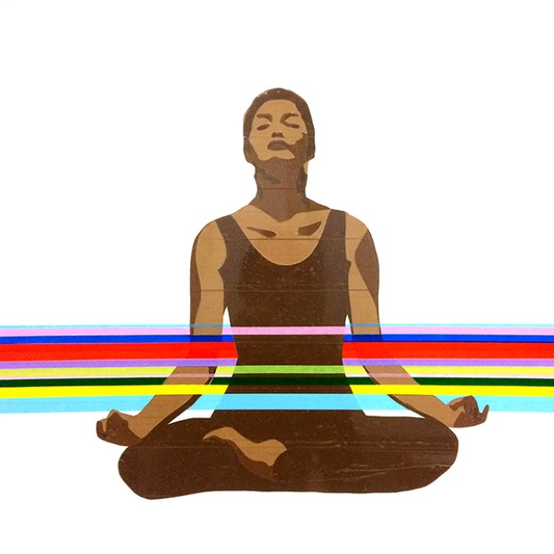 yoga - nastro pacchi e scotch su tavola - 60x60 cm