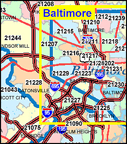 map of maryland with zip codes