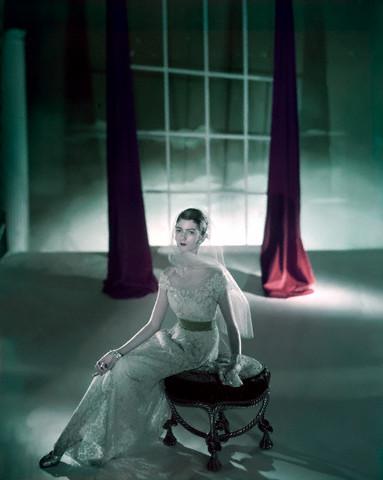 Model Carmen Dell'Orefice in Elegant Dress