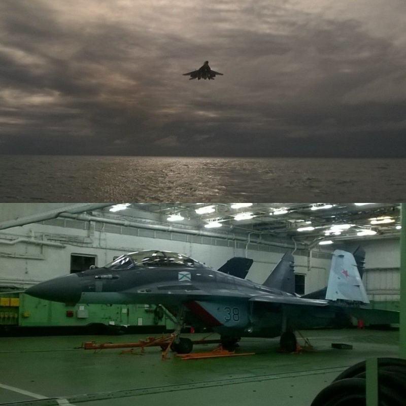 Imagen Superior: Uno de los novisimos MiG-29K se apresta a apontar en el portaaviones Almirante Kuznetsov. Imagen Inferior: Un MiG-29KUB en el hangar del Kuznetsov. La armada rusa planea desplegar estos modernos cazas polivalente en el Mediterraneo, a fin de que debuten en combate en el conflicto en Siria