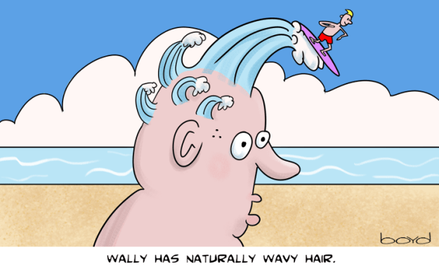 Wally has wavy hair