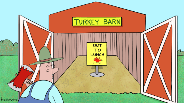 Farmer checks empty turkey barn