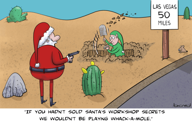 Santa plays whack-a-mole.