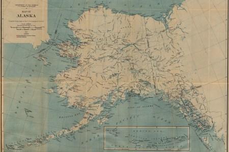 alaska map, united states 1917 full size