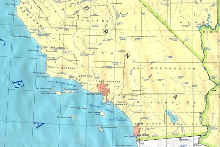 southern california state map, united states full size