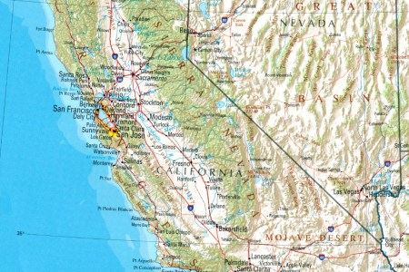 california shaded relief map, united states full size