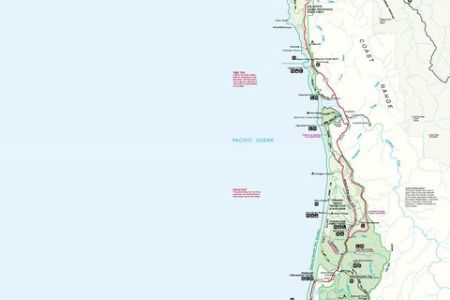 redwood national park map, california, united states