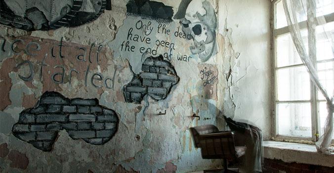 Patarei-Merekindlus---Estonia-Tallinn-prison-graffiti-only-the-dead-have-seen-the-end-of-war-small
