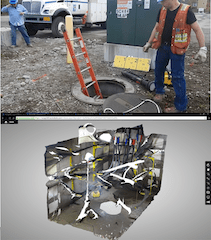 Using a camera and Autodesk Recap 360, Anchorage municipal Light and Power personnel are creating 3D models of underground electrical vaults. Shown above is an image of the ceiling of a vault created with Autodesk Recap 360. Images courtesy of Anchorage Municipal Light and Power.