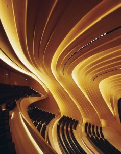 Oak-paneled Auditorium inside the Aliyev Center - photo by Helene Binet