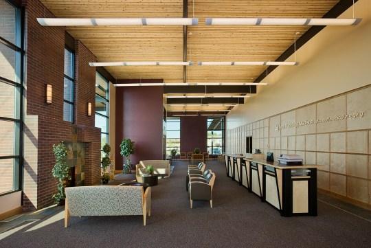 Interior, horizontal, overall lobby, Teton Radiology Madison, Rexburg, Idaho; Ward + Blake Architects