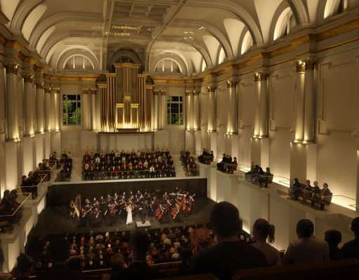 Siansa National Concert Hall in Dublin, Ireland, designed by Henning Larsen Architects. The transformed Great Hall.