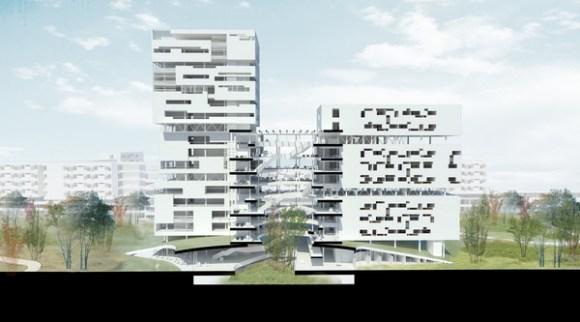Perspective of cross section Forum atrium