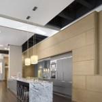 Kitchen with Koto wood paneled wall and Soapstone island (Images Courtesy John Horner Photography)
