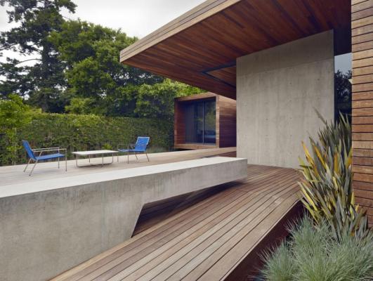 Detail showing concrete bench at deck