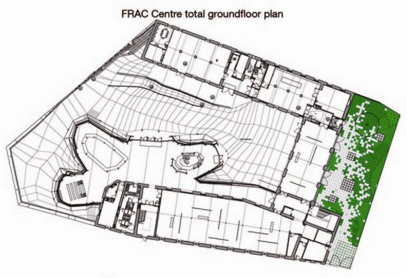 The FRAC Center Groundloor plan is a meeting between de Mineral and the botanical