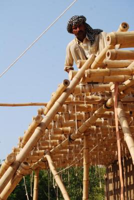 Detail of bamboo structure (Photo: Roswag Architekten)