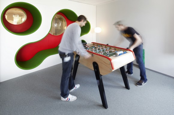 Meetin Room with Football Table and organic wall (Image Courtesy Anders Sune Berg)